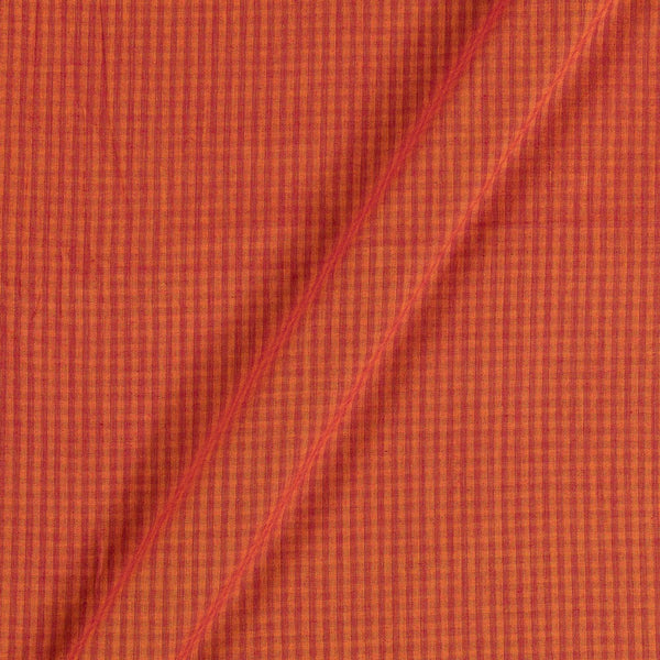 South Cotton Yellow Orange Colour 42 Inches Width Striped & Check Washed Fabric