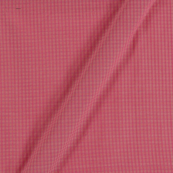 South Cotton Peach Pink Colour 43 inches Width Striped & Check Washed Fabric