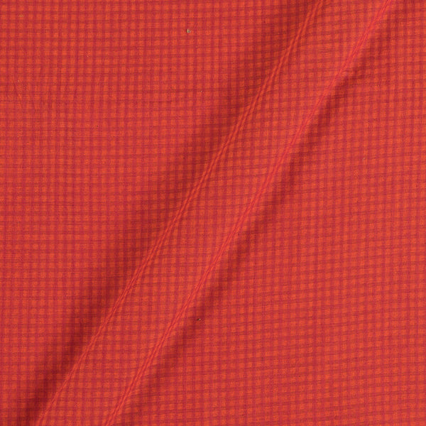 South Cotton Orange Red Colour Striped & Check Washed 42 inches Width Fabric