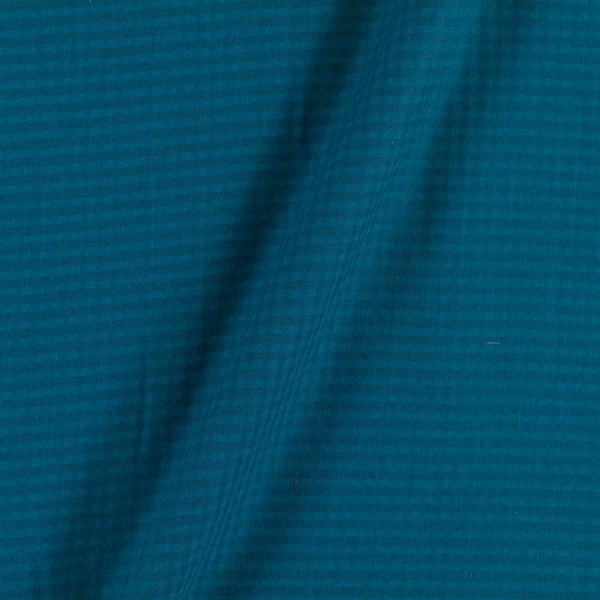 South Cotton Teal Blue Colour 43 inches Width Striped & Check Washed Fabric