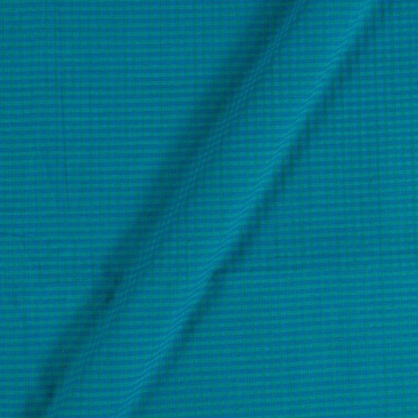 South Cotton Turquoise Colour 42 Inches Width Striped & Check Washed Fabric