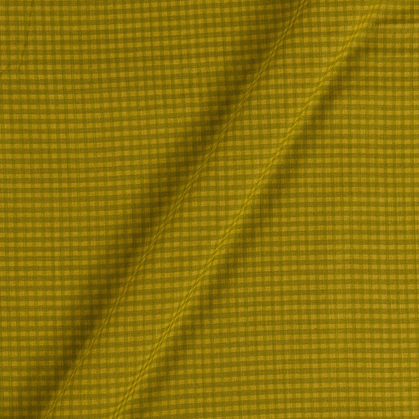South Cotton Olive Green Colour Striped & Check Washed 42 inches Width Fabric