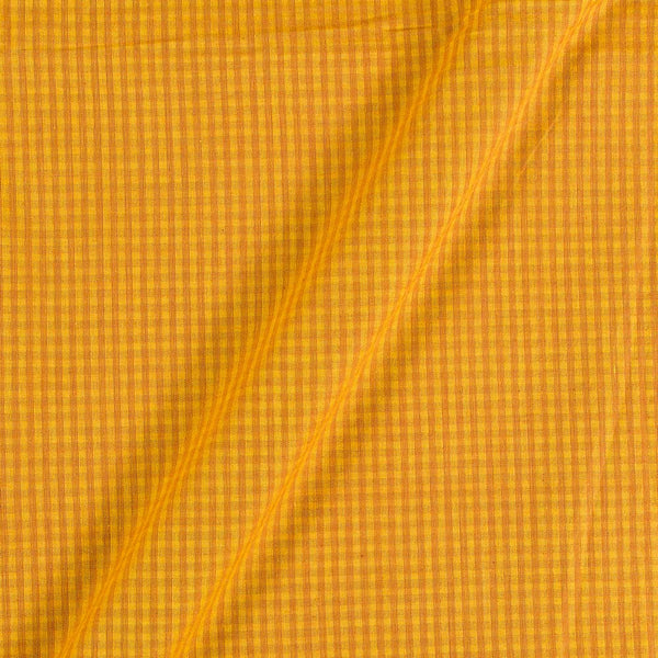 South Cotton Mustard Yellow Colour Striped & Check Washed 42 inches Width Fabric