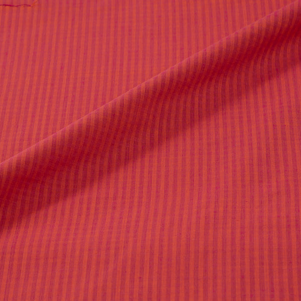 South Cotton Coral & Rani Pink Mix Shade Striped & Check Washed Fabric