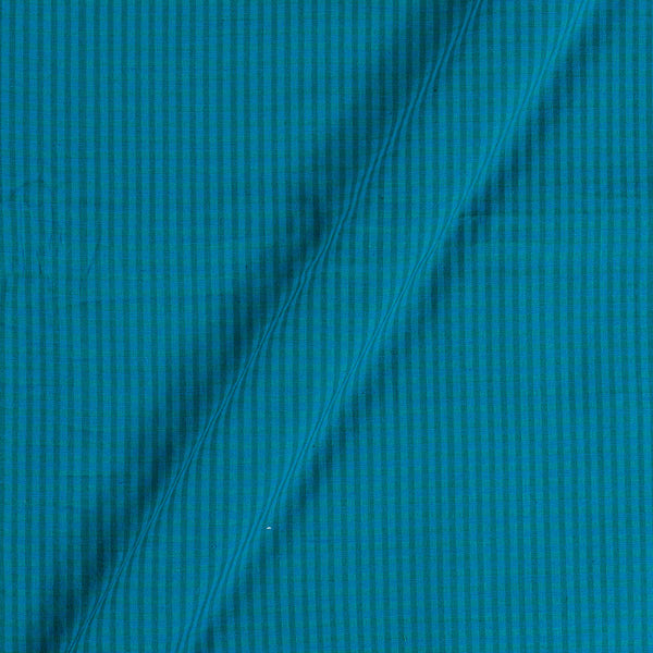 South Cotton Peacock Blue Colour Striped & Check Washed 42 inches Width Fabric