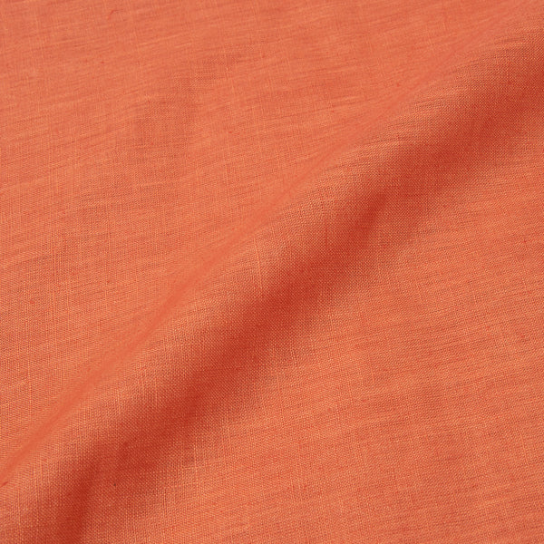 Linen x Linen Tangerine Orange Colour Handloom Fabric