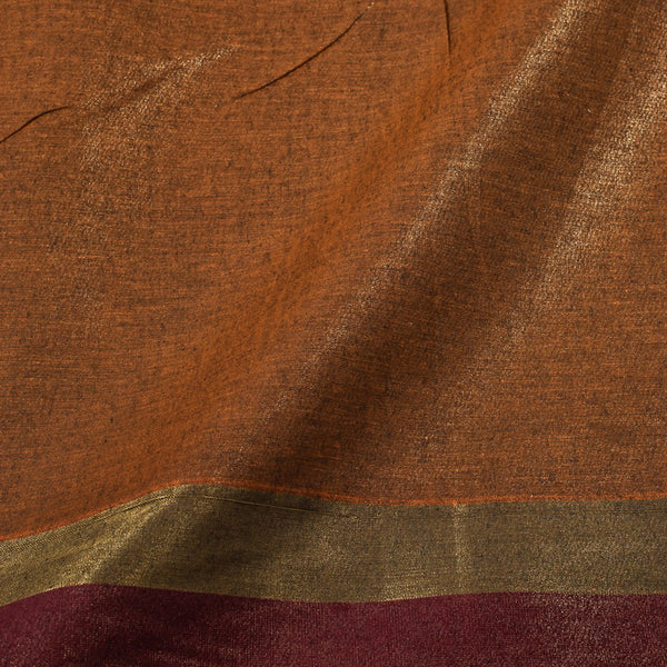 Rust Colour Handloom Type Shimmer Cotton Fabric  With Gold Daman Border