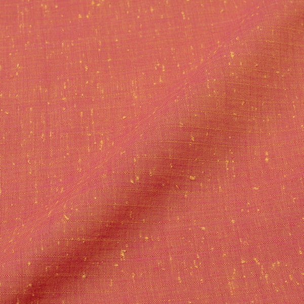 Neps Cotton Red Yellow Two Tone Plain Weave Fabric