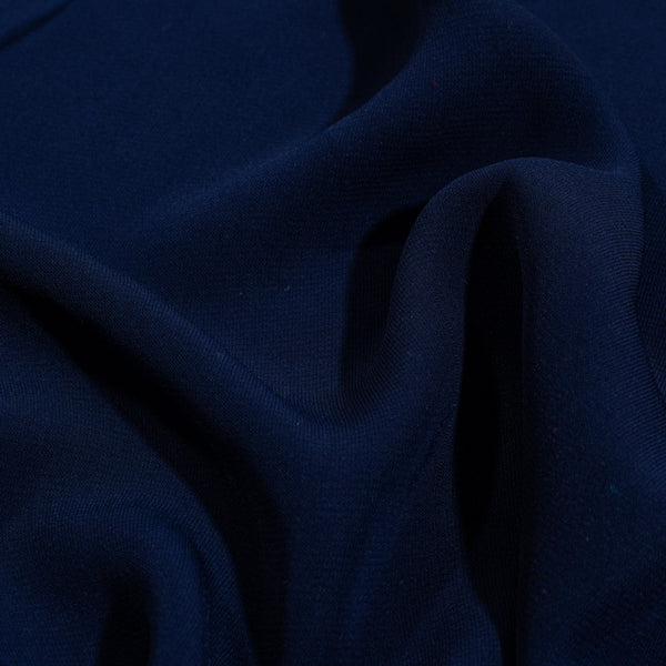Navy Blue Colour Rayon Feel Flowy Polyester Fabric