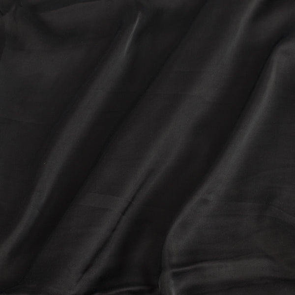 Modal Satin Black Colour 43 Inches Width Plain Dyed Fabric