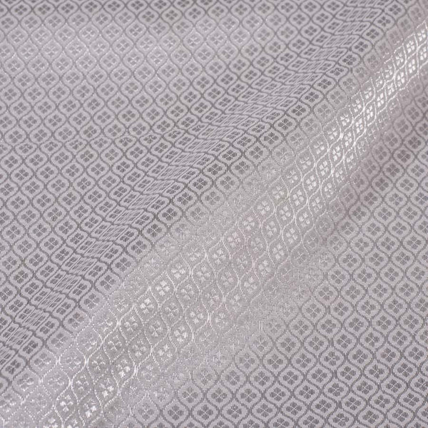 Mastani Tissue Silver Colour 43 inches Width Geometric Print Fabric