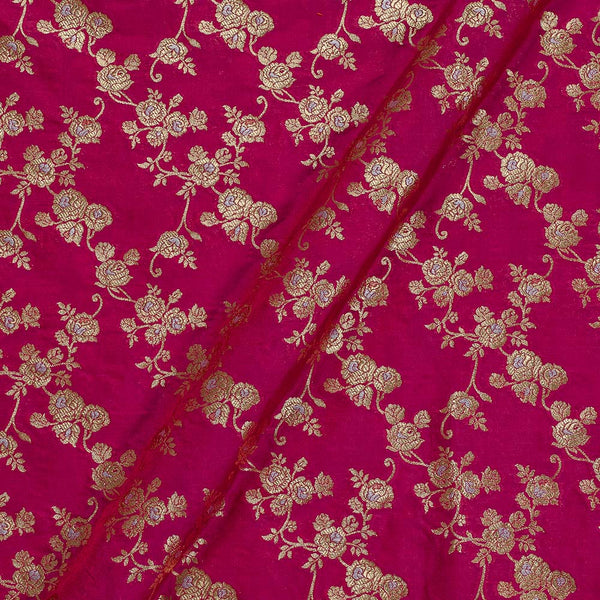 Katan Silk Fuchsia Two Tone 43 Inches Width Gold Jari Silver Meena Butta Banarasi Brocade Fabric