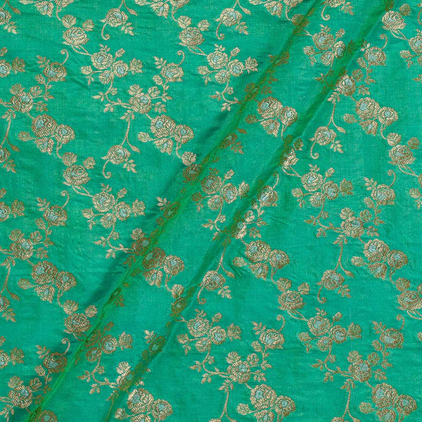 Katan Silk Pista Green Two Tone 43 Inches Width Gold Jari Silver Meena Butta Banarasi Brocade Fabric