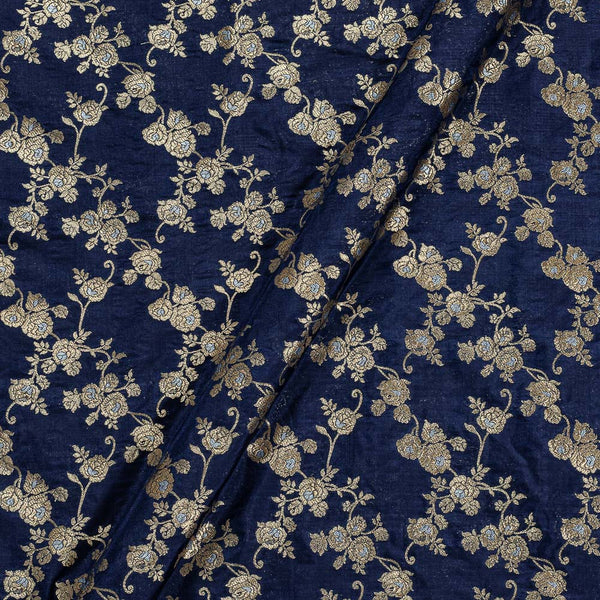 Katan Silk Navy Blue Colour 43 Inches Width Gold Jari Silver Meena Butta Banarasi Brocade Fabric