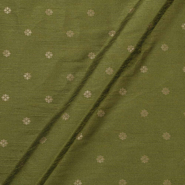 Artificial Raw Silk Mehendi Green Colour Floral Butti Jacquard Fabric