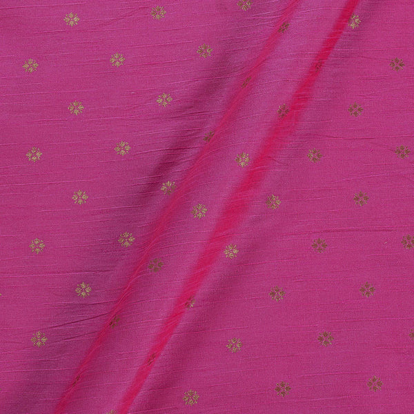 Artificial Raw Silk Candy Pink Colour Floral Butti Jacquard Fabric