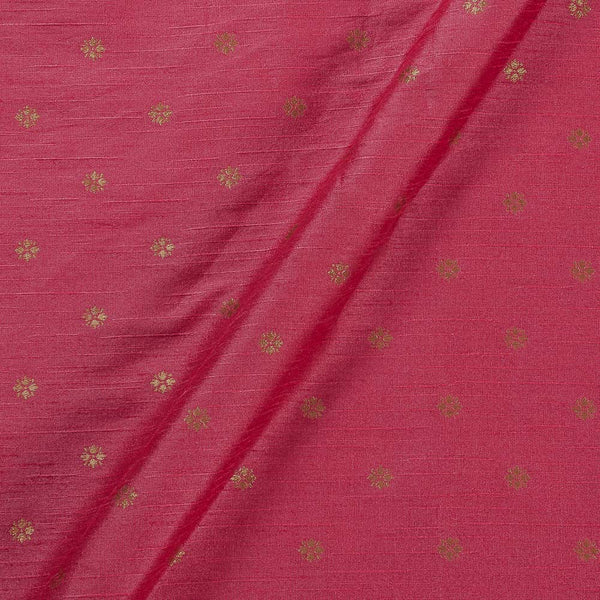 Artificial Raw Silk Coral Colour Floral Butti Jacquard Fabric
