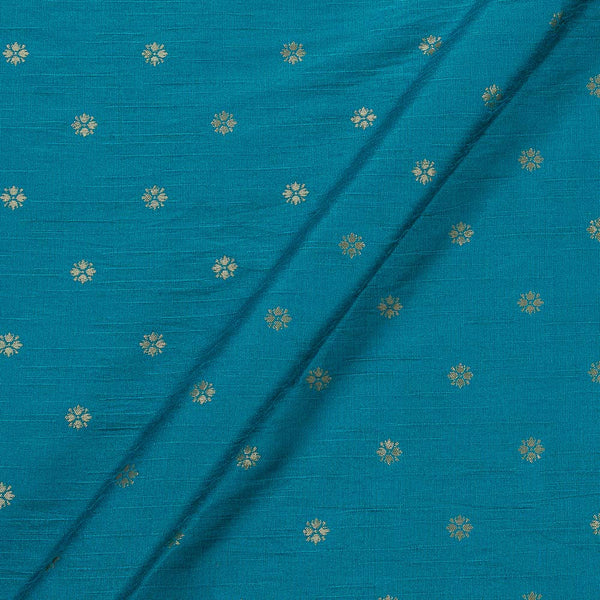 Artificial Raw Ocean Blue Colour Floral Butti Jacquard Fabric