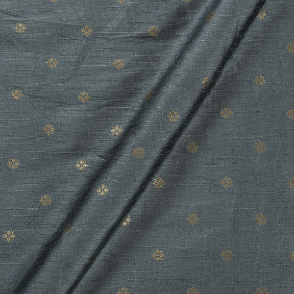 Artificial Raw Silk Steel Grey Colour Floral Butti Jacquard Fabric