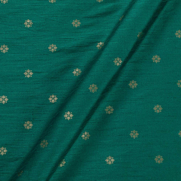 Artificial Raw Silk Peacock Green Colour Floral Butti Jacquard Fabric