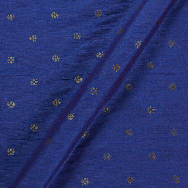 Artificial Raw Silk Royal Blue Two Tone Floral Butti Jacquard Fabric