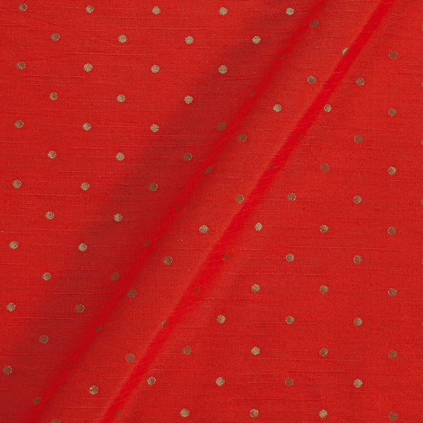 Artificial Raw Silk Tangerine Orange Colour Jacquard Fabric