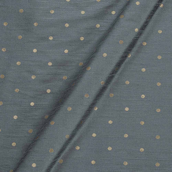 Artificial Raw Silk Grey Colour Zari Butti Jacquard Fabric