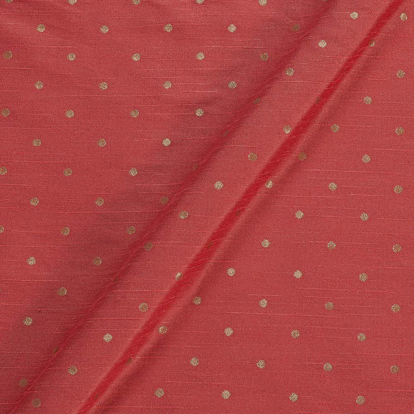 Artificial Raw Silk Hot Coral Colour Zari Butti Jacquard Fabric
