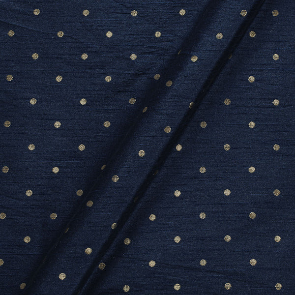 Artificial Raw Silk Midnight Blue Colour Zari Butti Jacquard Fabric