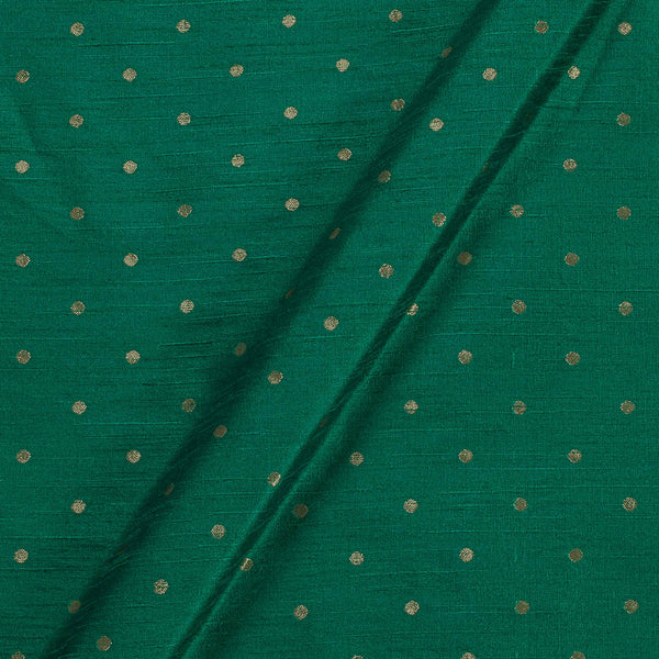 Artificial Raw Silk Green Colour Zari Butti Jacquard Fabric