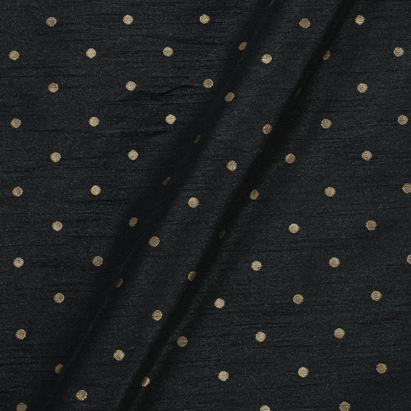 Artificial Raw Silk Black Colour Zari Butti Jacquard Fabric