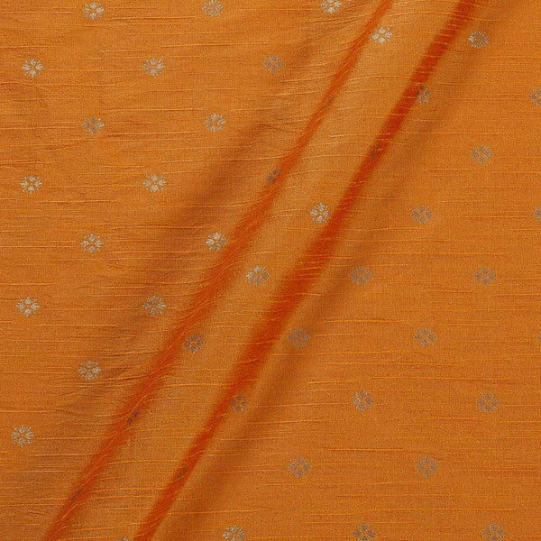 Artificial Raw Silk Golden Orange Colour Butti Jacquard Fabric