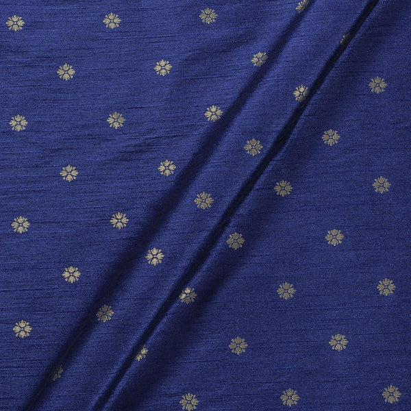 Artificial Raw Silk Navy Blue Colour Floral Butti Jacquard Fabric