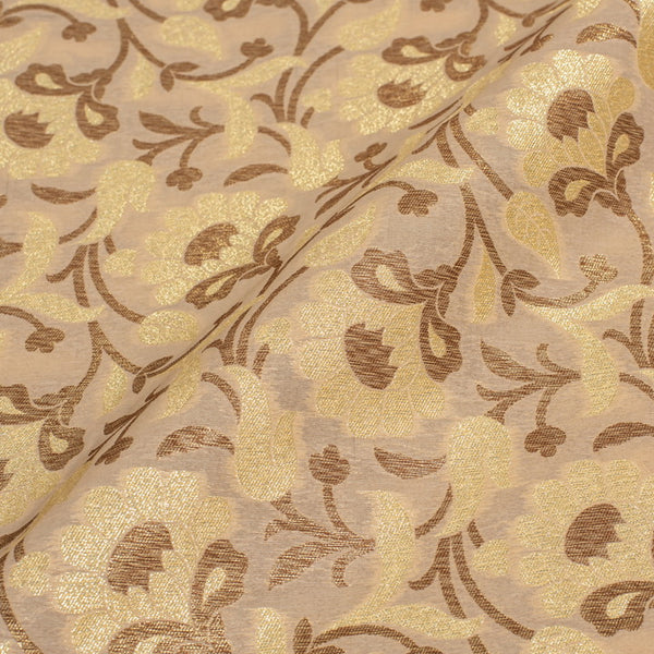 Beige Colour Antique Gold Jaal Silk Feel Banarasi Brocade Fabric