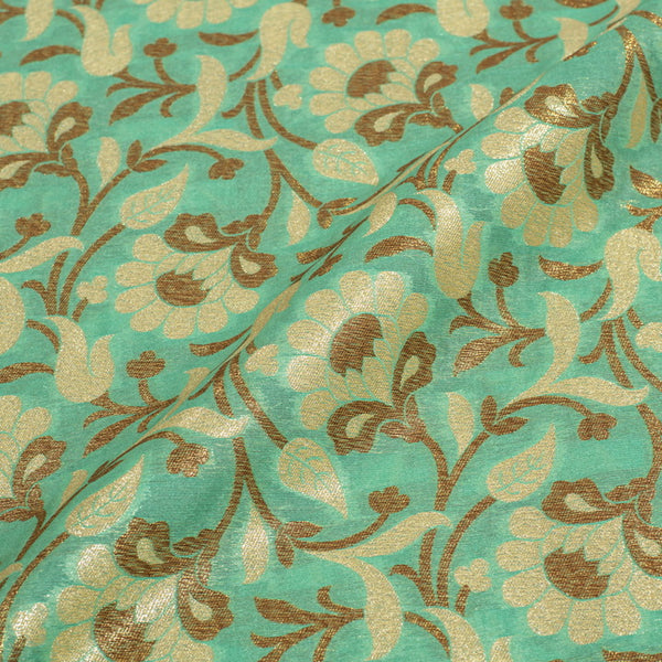 Pastel Turquoise Colour Antique Gold Jaal Silk Feel Banarasi Brocade Fabric
