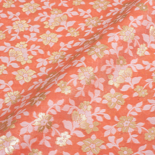 Pastel Orange Colour Gold Alfi Jaal Chanderi Silk Feel Banarasi Brocade Fabric