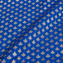 Royal Blue Colour Gold Floral Butta Katan Silk Feel Banarasi Brocade Fabric