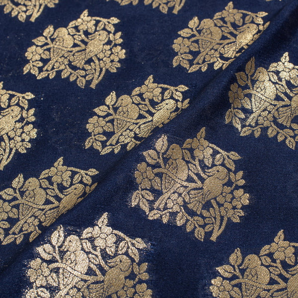 Deep Blue Gold Floral Butta With Bird Motif Katan Silk Feel Banarasi Brocade Fabric