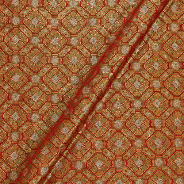 Silk Feel Tangerine Orange Two Tone  43 Inches Width Banarasi Brocade Fabric