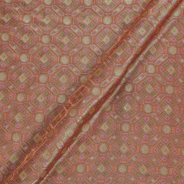 Silk Feel Brick Colour 43 Inches Width Banarasi Brocade Fabric