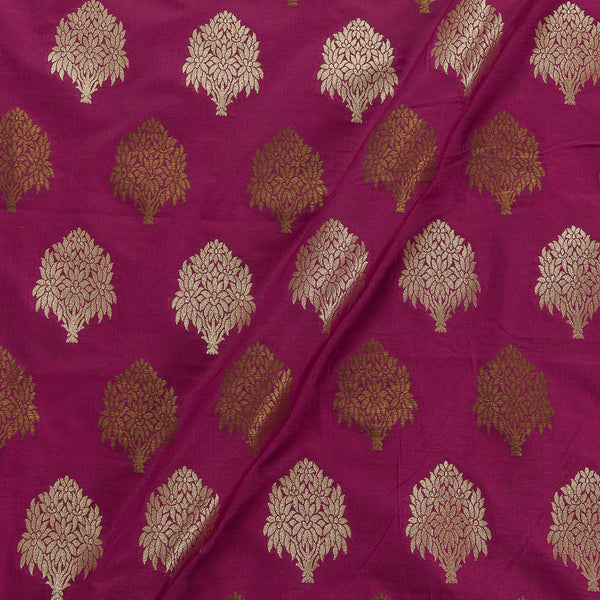 Katan Silk Feel Hot Pink  Colour Floral 41 Inches Width Banarasi Brocade Fabric