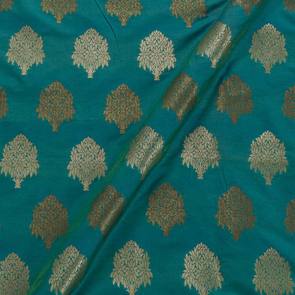 Katan Silk Feel Aqua Two Tone Floral Banarasi Brocade Fabric