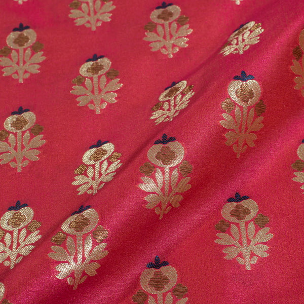 Carrot Two Tone Gold Floral  Design Chanderi Silk Feel Banarasi Brocade Fabric