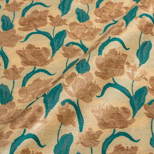 Beige Colour Gold Floral Design Tussar Silk Feel Banarasi Brocade Fabric