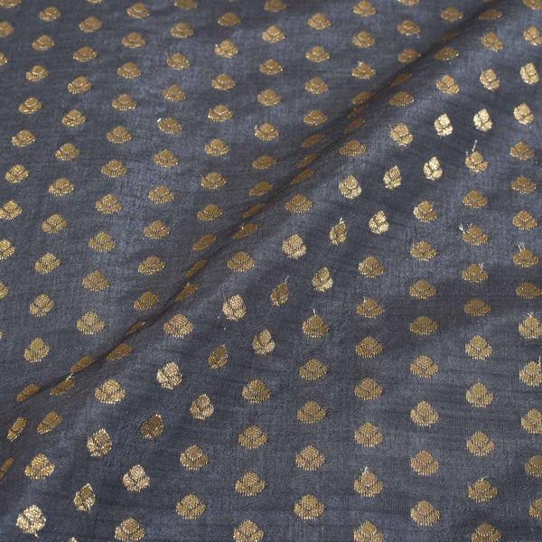 Steel Grey Colour Gold Floral Butti Jacquard Art Silk Fabric
