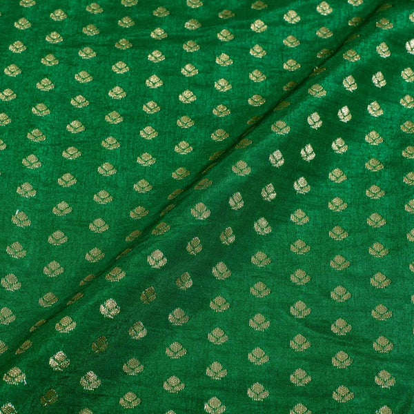 Fern Green Colour Gold Floral Butti Jacquard Art Silk Fabric