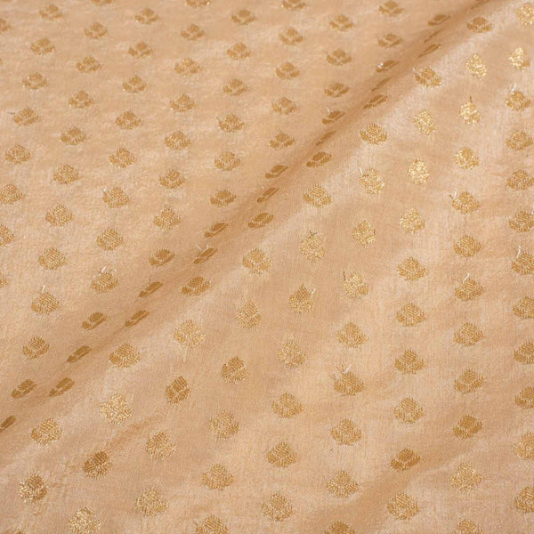 Apricot Cream Colour Gold Floral Butti Jacquard Art Silk Fabric