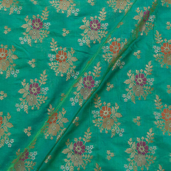 Katan Silk Feel Pistachio Two Tone Floral Banarasi Brocade Fabric