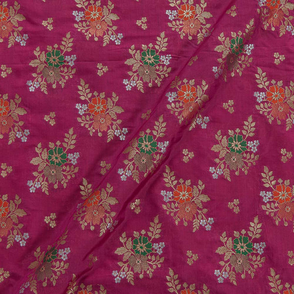Katan Silk Feel Hot Pink Colour Floral Banarasi Brocade Fabric