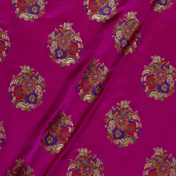 Banarasi Brocade Rani Pink Colour Floral Satin Fabric